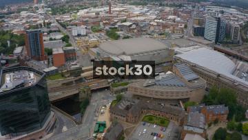 Drone Shot Orbiting Around The MEN Arena In Manchester, UK