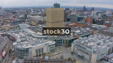 Drone Shot Flying Towards Manchester Arndale Tower, UK
