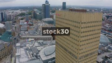 Drone Shot Orbiting Clockwise Around Manchester Arndale Tower, UK