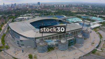 Drone Shot Orbiting Anticlockwise Around Manchester City's Etihad Stadium, UK