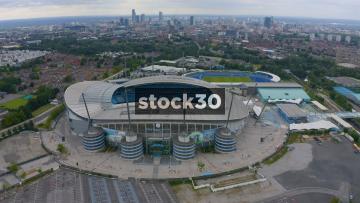 Drone Shot Flying Over Manchester City's Etihad Stadium, UK