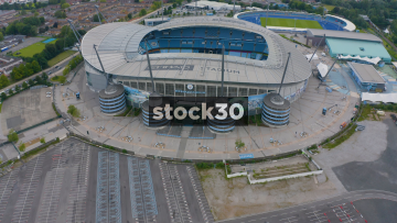 Drone Shot Directly Overhead Manchester City's Etihad Stadium With View Of Pitch, UK