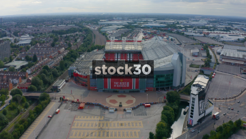 Drone Shot Flying Over Manchester United's Old Trafford Football Stadium, UK
