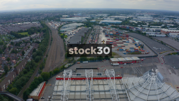 Drone Shot Flying Backwards Over Manchester United's Old Trafford Football Stadium, UK