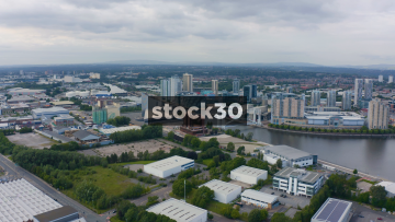 Drone Shot Approaching Media City In Salford, UK