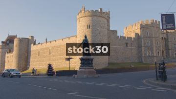 Windsor Castle, Wide Shot With Passing Cars, UK