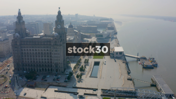 Drone Shot Past The Liver Building By The River Mersey In Liverpool, UK