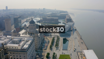 Drone Shot Towards The Albert Dock By The River Mersey In Liverpool, UK