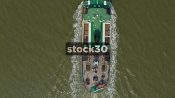 Overhead Drone Shot Of Mersey Ferry MV Snowdrop In Liverpool, UK