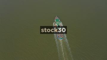 High Drone Shot Of Mersey Ferry MV Snowdrop In Liverpool, UK