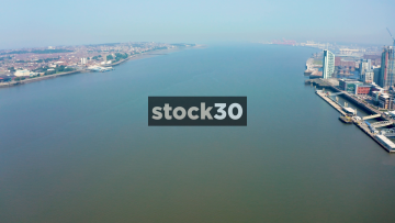 Drone Shot Of The River Mersey In Liverpool, UK