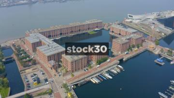 Orbiting Drone Shot Of The Albert Dock In Liverpool, UK