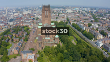 Drone Shot Flying Past Liverpool Cathedral, UK