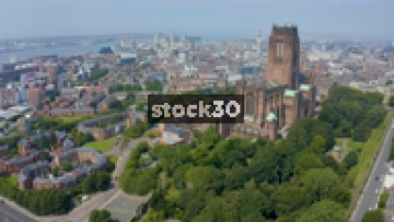 Drone Shot Flying Past Liverpool Cathedral Towards City Centre, UK