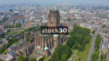 Drone Shot Orbiting Around Liverpool Cathedral, UK
