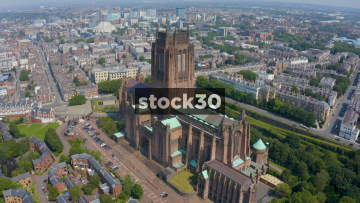 Drone Shot Orbiting Clockwise Around Liverpool Cathedral, UK
