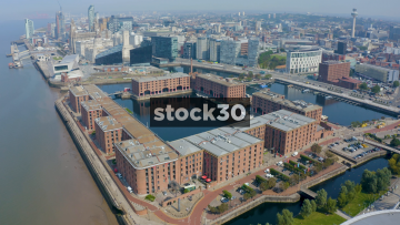 High Orbiting Drone Shot Of The Albert Dock In Liverpool, UK