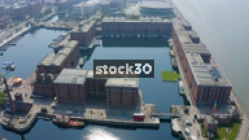 Drone Shot Flying Over The Albert Dock In Liverpool, UK