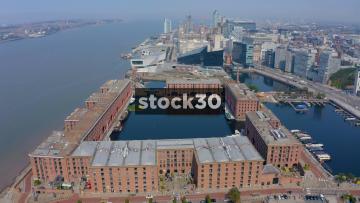 Drone Shot Flying Over The Albert Dock By The River Mersey In Liverpool, UK