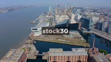Drone Shot Flying Towards The Liver Building By The River Mersey In Liverpool, UK