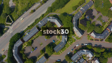 Drone Shot Over Housing Estate Near Liverpool Cathedral, UK