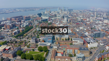 Drone Shot Over Liverpool City Centre, UK