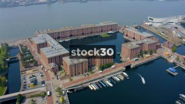 Drone Shot Orbiting The Albert Dock In Liverpool, UK