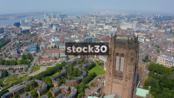 Drone Shot Flying Backwards Away From Liverpool Cathedral, UK