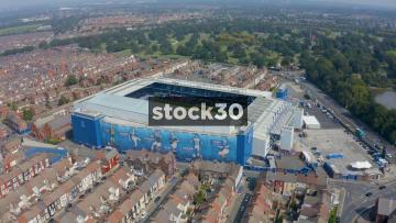 Drone Shot Orbiting Anticlockwise Around Everton's Goodison Park Football Stadium In Liverpool, UK