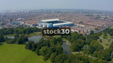 Drone Shot Approaching Everton's Goodison Park Football Stadium In Liverpool, UK