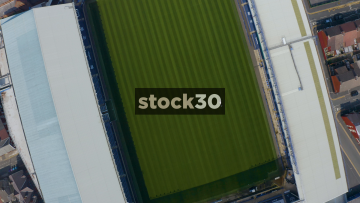 Rotating Drone Shot Over The Pitch Of Everton's Goodison Park Football Stadium In Liverpool, UK
