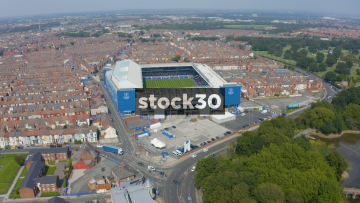 Drone Shot Flying Over Everton's Goodison Park Football Stadium In Liverpool, UK