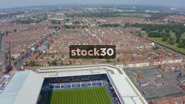 Drone Shot Flying Backwards Over Everton's Goodison Park Football Stadium In Liverpool, UK