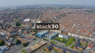 Drone Shot Flying Over Housing Near Everton's Goodison Park Football Stadium In Liverpool, UK