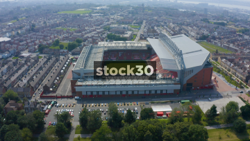 Drone Shot Flying Directly Over Anfield Football Stadium In Liverpool, UK