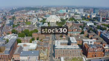 Drone Shot Moving Backwards Away From Liverpool Metropolitan Cathedral, UK