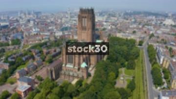 Drone Shot Orbiting Anticlockwise Around Liverpool Cathedral, UK