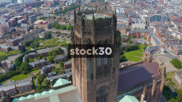 Drone Shot Orbiting Clockwise Around The Top Of Liverpool Cathedral, UK