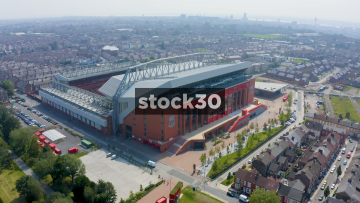 Drone Shot Orbiting Anticlockwise Around Anfield Football Stadium In Liverpool, UK