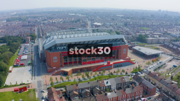Drone Shot Orbiting Clockwise Around Anfield Football Stadium In Liverpool, UK