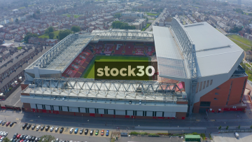 Close Up Drone Shot Orbiting Anticlockwise Around Anfield Football Stadium In Liverpool, UK