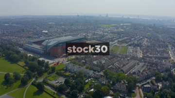 Drone Shot Flying Past Anfield Football Stadium In Liverpool, UK