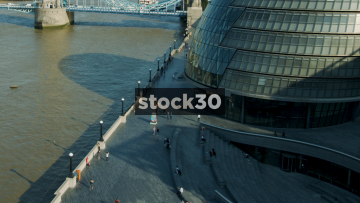 Timelapse Shot Of London Life By City Hall, The River Thames And Tower Bridge, UK