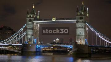 Timelapse Shot Of Tower Bridge In London At Night, UK