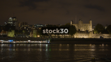 Wide Shot Of The Tower Of London At Night, UK