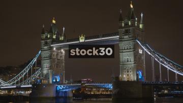 Close Up Shot Of Tower Bridge In London At Night, UK