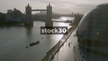 Timelapse Shot Of Tower Bridge And The River Thames In London, UK