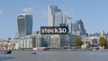 The Financial District In London, Including The Walkie Talkie And Gherkin Buildings, UK