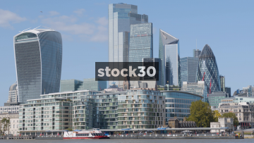 The Financial District In London, Including The Walkie Talkie And Gherkin Buildings, Zoom Out, UK