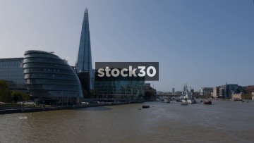 The City Hall And Shard Buildings By The River Thames In London, UK